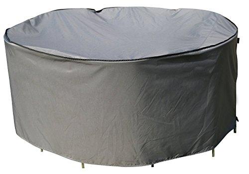 Housse de protection Table Ronde | Ø 178 x 90 cm (L/L x H) | Gris | Résistant à L'eau | SORARA | Polyester & Revêtement PU | Pour Jardin, Terrasse, Meubles | Qualité