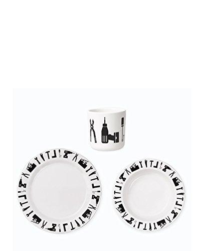 Design Letters Geschirr-Set, Kinder, One Size, Weiß mit schwarz