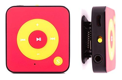 MP3-Player Royal BC05 – Clip, Sport, Fitness Player, 15 Stunden Wiedergabe, Kopfhörer, USB Kabel, mit microSD Kartenslot für bis zu 32 GB microSD Karten – gratis Silikonhülle - Rot-Gelb von Bertronic