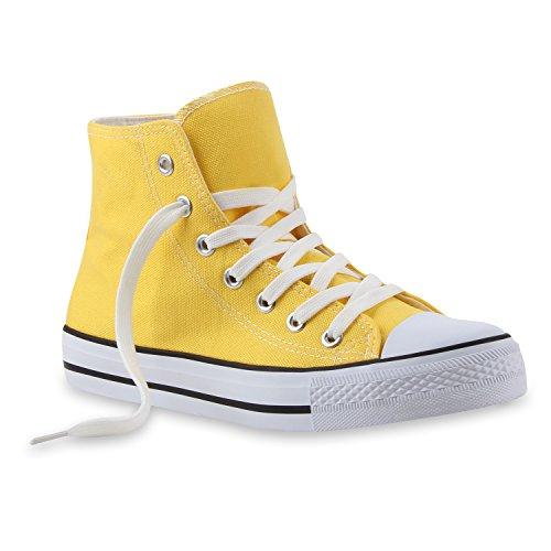 Sportliche Damen SneakersStoff Camouflage Schnürer Sneaker High Neon Sport Schuhe 112224 Gelb 39 ()