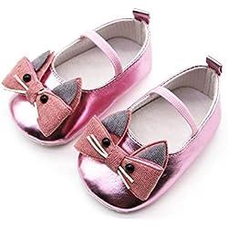 Conquro Bebé niña bebé Gato Zapatos niño Zapatos Hebilla Zapatos Primeros Pasos para niñas Zapatos de Vestir Recién Nacido Primeros Pasos de Suela Blanda con Bowknot Princesa Estilo