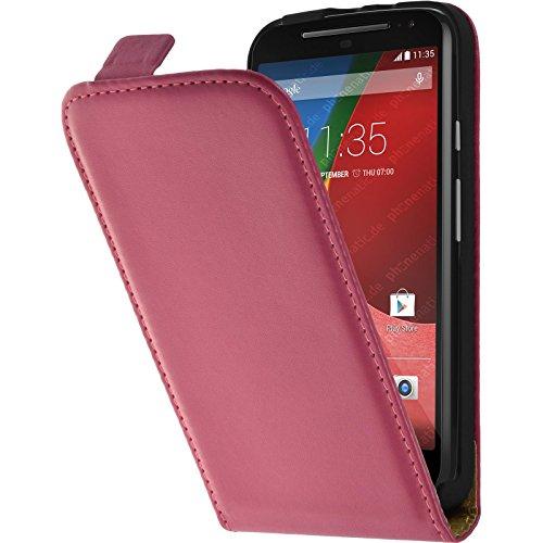 PhoneNatic Kunst-Lederhülle kompatibel mit Motorola Moto G 2014 2. Generation - Flip-Case pink + 2 Schutzfolien