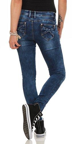 10205 Fashion4Young Damen Röhrenhose Treggings Stretch-Hose Skinny Slimline Damenhose Blau