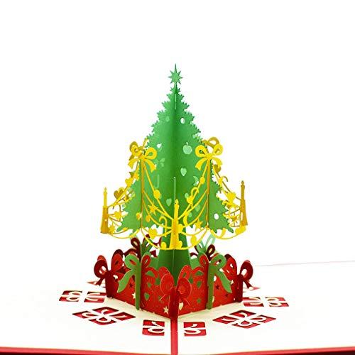 (Tiyee 3D Kreative Pop-Up-Karten Weihnachten Party Dekoration Jahrestag Gruet)