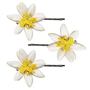 Alpenflüstern Trachten-Haarklammern Edelweiß-Blüten 3er-Set Creme-weiß ADV104