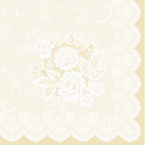 50 Servietten, stoffähnlich, Airlaid 1/4-Falz 40 cm x 40 cm Ornaments Beige Creme für Hochzeit Taufe ... (Beige Servietten)