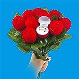 Gaddrt Zauberrequisiten Roter Samt Rose Verlobungshochzeits-Ohrring-Anhänger-Schmuckkästchen-Kasten
