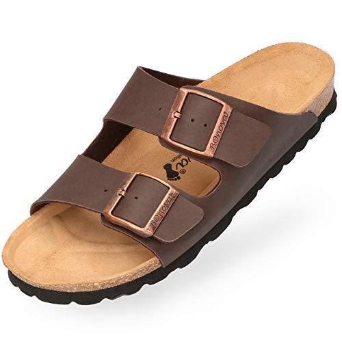 BOnova Herren Pantolette Schwanberg in 4 Farben, Bequeme Hausschuhe mit Kork-Fußbett und Riemen aus Leder - Sandalen hergestellt in der EU braun 38