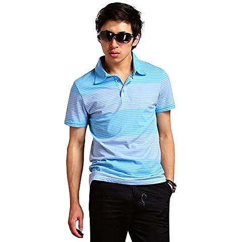 LONGHAN bicchierino-manicotto maglietta di estate nuovo giovane strisce bicchierino-manicotto colletto