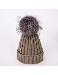 HAOLIEQUAN Cappello Invernale Cappello Pom Pom per Donna Cappello Donna con  Visiera Cappellino Berretto Lavorato A 68272208f3e3