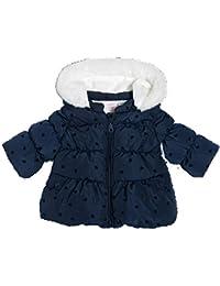 Chicco Baby Mädchen Winterjacke Wasserabweisend dunkelblau mit Herzmuster und Kapuze