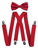 axy - bretelle per pantaloni da uomo con papillon–4Clip a forma di X con tenuta forte, colore: Rot (Hosenträger Breit 2,5cm), cod. HTS35-1