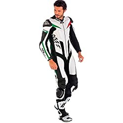 mono de piel para moto hombres ,Spyke 4Race Rac (60, Blanco/Negro/Verde/Rojo)