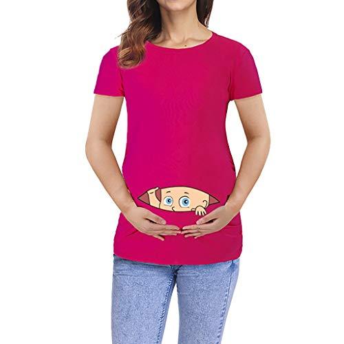SUDADY Magliette a Maniche Corte prémaman Estivo Incinta Pratico T-Shirt con Sorpresa Bebè Che Esce dalla Divario Tunica Camicetta Scollo Rotondo Felpe Manica Corta Maternity Top qualità Donna
