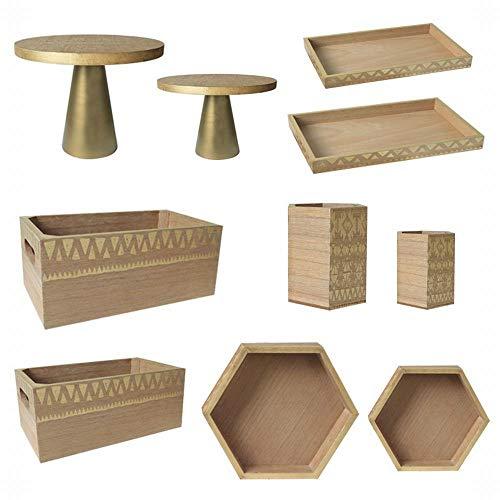 FANCYKIKI Vintage Holzkuchen Platte Sen Dessert Tischdekoration Kreative Geometrische Druck Brotkorb Holz Rechteckigen Tablett EIN Satz Von Zehn (Size : A Set of Ten)