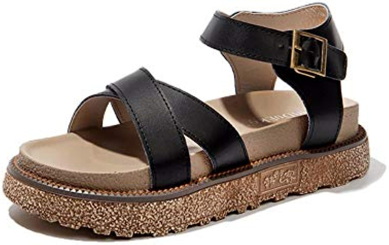 LYSLOLI one-strap fibbia sandali, fibbia della cintura sandali estivi da donna sandali, Nero, 37 | Louis, in dettaglio  | Scolaro/Ragazze Scarpa