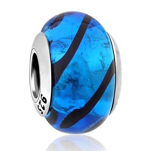 Bernstein Glas-modell (Nenalina Murano Glas Bead blau/schwarz in 925 Sterling Silber, auch kompatibel für Pandora Beads Armbänder, 717201-045)
