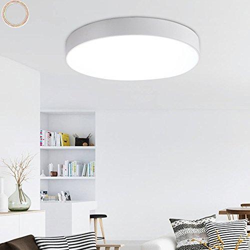 Moderne Minimalistische Schmiedeeisen Deckenleuchte Stilvolle Ultra-dünne Runde LED Wohnzimmer Deckenlamp Drei Licht Farbe Flur Schlafzimmer Lichter (Weiß, φ30cm 18W) (Schmiedeeisen Deckenleuchten)