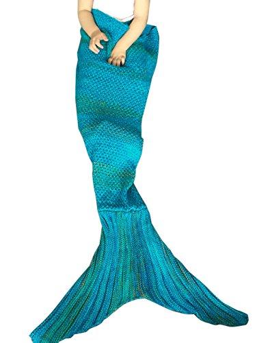 YiZYiF Meerjungfrau Decke, Handgemachte häkeln Tagesdecke Kuscheldecke Strick Decke für Kinder und Erwachsene, Mermaid Blanket Alle Jahreszeiten Schlafsack (Kinder, Blau (4-7 Jahre, ()