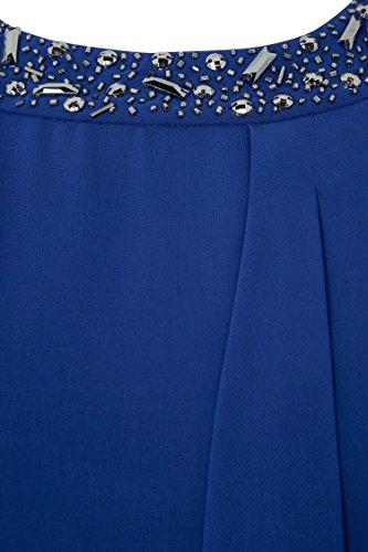 Roman Originals Femme Robe Femme Asymétrique Col Perles Bleu Roi Bleu