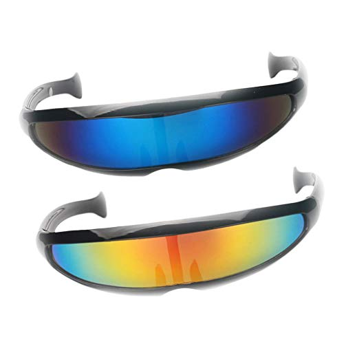 D DOLITY 2er Pack Herren Damen Verspiegelte Futuristische Sonnenbrille für Kostüm Party Club Tanz Props