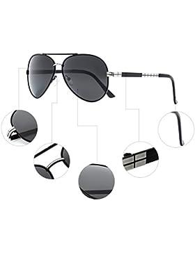 CHB Gafas de Sol Aviador Marco Metal Protección UV 400 Ligeras Polarizadas Con Estuche de Gafas Para Hacer Ejercicio