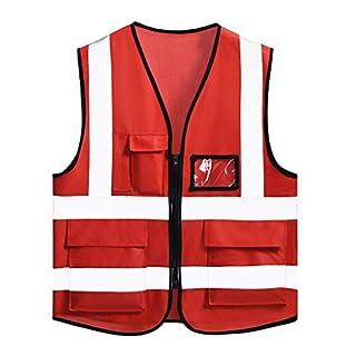 Shop-4 Reflektierende Sicherheitskleidung- Reflektierende Warnweste Gelb Atmungsaktiv Warnservice Sicherheitskleidung Baustellenverkehr Fluoreszierende Autokleidung (Farbe : Red)
