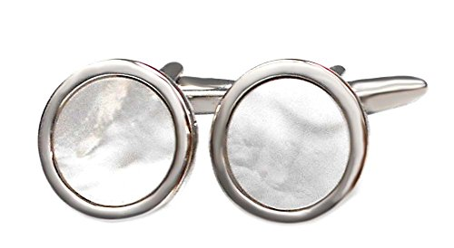 edle Perlmutt Manschettenknöpfe rund silbern weiss 19 mm inkl. Silberbox