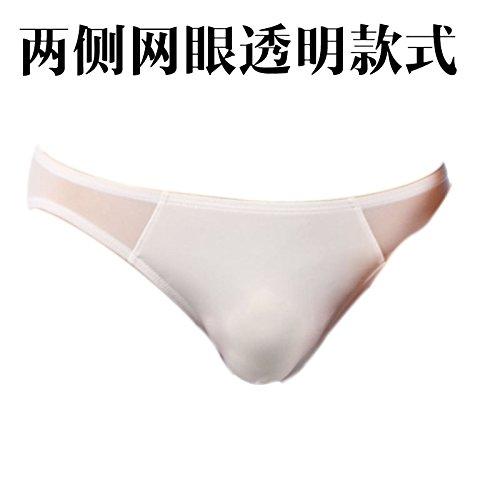 Primavera/estate/coppia/regali Maglia trasparente intimo uomo Slip di seta ghiaccio liscio morbido slip uomo,M,Bianco 1-YU&XIN