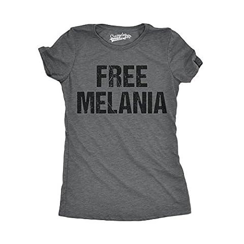 Crazy Dog TShirts - Womens Free Melania Funny Political President USA White House T shirt (Grey) XL - Femme