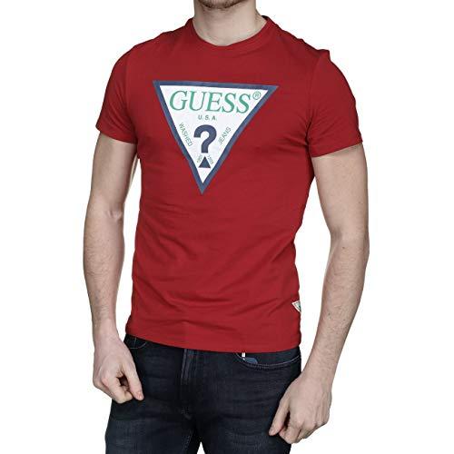 Guess T-Shirt mit kontrastfarbenem Logo - L, DUNKELROT
