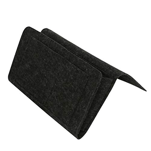OUNONA Moderne Taschen Nachttisch Caddy Betttaschen Sofa Aufbewahrungstasche Tasche Veranstalter für Telefon Gläser Buch (schwarz) (Nachttisch Caddy Veranstalter)