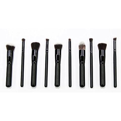 Pro. 10pcs Brochas de maquillaje cepillo cosmético de labios de sombra de ojos de la ceja Pinceles Kit de