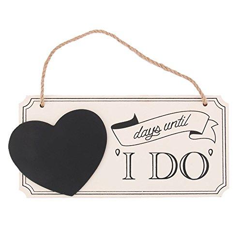 NaiCasy Holz Herz Hochzeit Zeichen Countdown Tafel mitdays Until I DO Hochzeit Dekorative Tafel (Tafel-hochzeits-countdown)