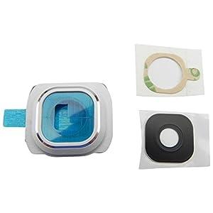 Samsung Galaxy S6 Kamera Glas Abdeckung Linse G920F + Rahmen + Klebepad Komplett 3in1 Weiß - ToKa-Versand®
