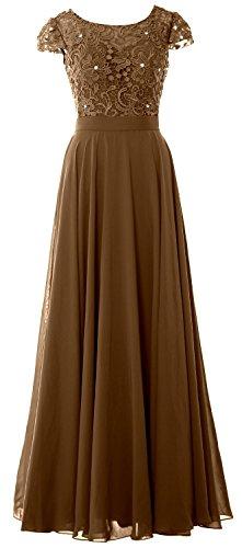 MACloth - Robe - Trapèze - Manches Courtes - Femme Marron