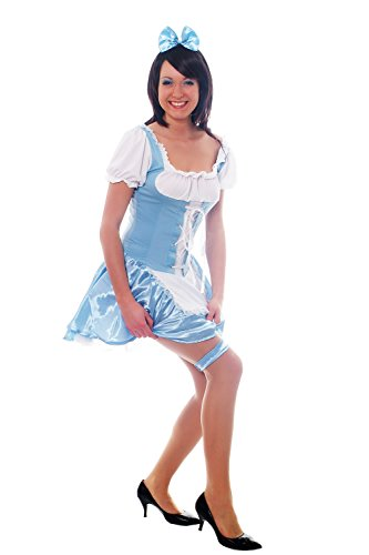 DRESS ME UP Damenkostüm: Hellblaues Dirndl Zofe Maid -