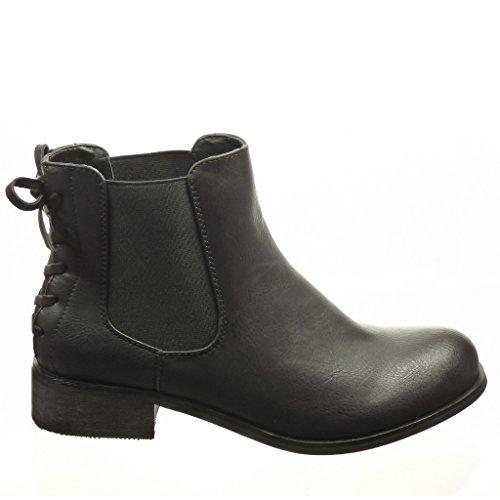 Angkorly - damen Schuhe Stiefeletten - Chelsea Boots - Knoten - Spitze Blockabsatz 3 CM Schwarz