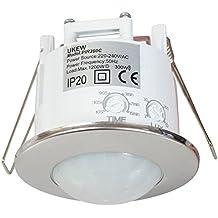 Sensor de movimiento para techo, 360 grados, ahorro de energía, cromado, empotrable