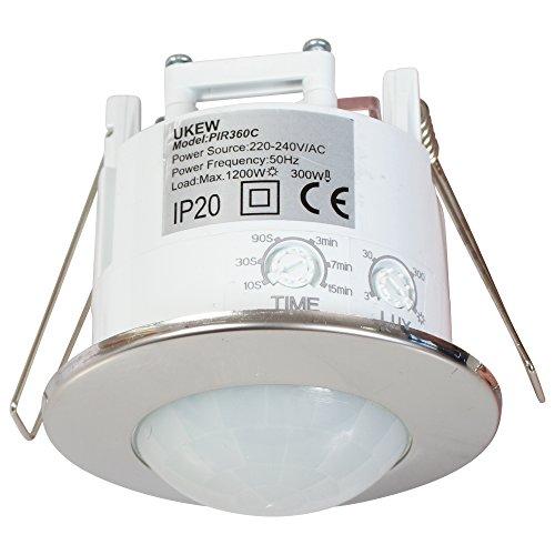 Automatische Einbauleuchte aus Chrom, energiesparend, 360Grad, Deckenmontage, PIR-Sensor, Bewegungsmelder, Schalter (Led-belegungs-sensor-licht)