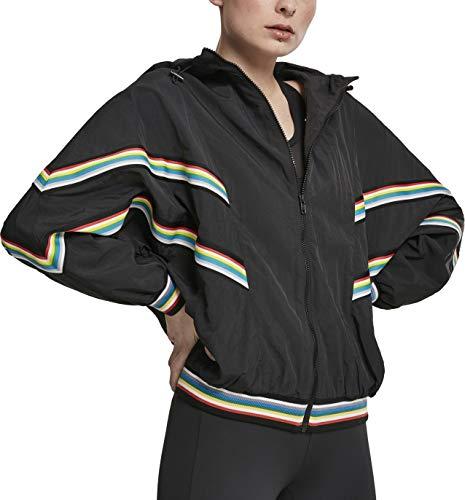 Urban Classics Damen Ladies Multicolor Rib Batwing Windbreaker Jacke, Schwarz (Black 00007), X-Small (Herstellergröße: XS) Classic Rib