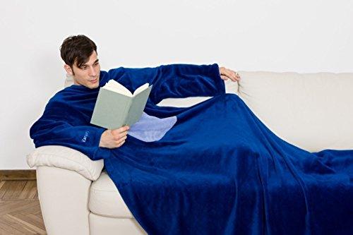 *Kanguru © Deluxe Midnight Decke Farbe dunkelblau blau Größe 140 x 210 cm XXL Ultra Soft Kuscheldecke Sofadecke Ärmeldecke mit Brusttasche und Ärmeln*