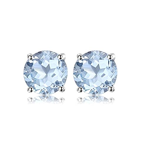JewelryPalace Round 2ct Natural Sky Blue Topaz Birthstone Stud Earrings 925 Sterling Silver