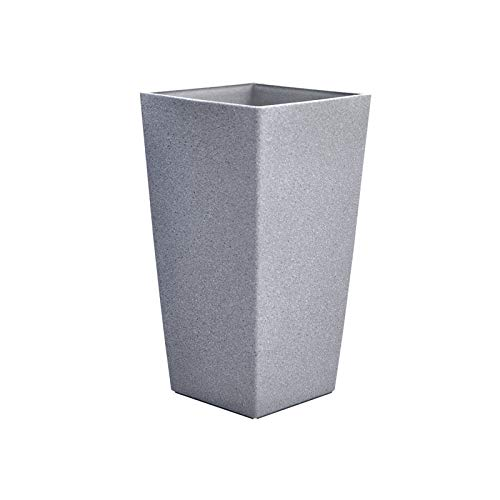 Tall Rectangle Plant Pot With Sandstone Effect Plastic Garden Home Gardening Planter Accessory For Flowers Herbs Trees Plants Indoor/Outdoor Use Patio Decking Convervatory Lawn Hallway - Grey 56cm