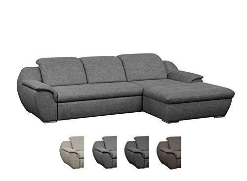 Cavadore Ecksofa Claanc mit großem Longchair und Bettfunktion / Eck-Sofa grau mit ausziehbarem Bett und großer...