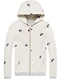 Scotch & Soda Mädchen Kapuzenpullover Regular Fit Zip Through Hooded Sweat with Different Allover