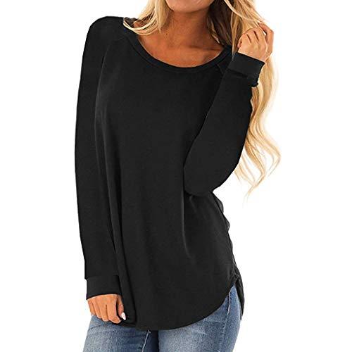 IZHH Damen LongSleeveShirt, LäSsige Rundhalsausschnitt Langarm T-Shirt Tops Lose Mode Tunika TäGliche Party Bluse(Schwarz,Medium)