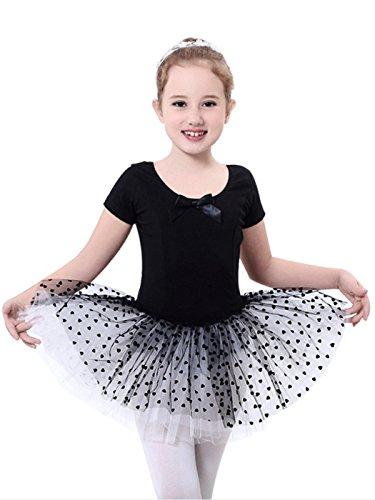 Happy Cherry Kinder Mädchen Elegantes Ballettkleid Mädchen Balletttrikot mit Tütü Größe 12 für Körpergröße 95-105cm - Schwarz