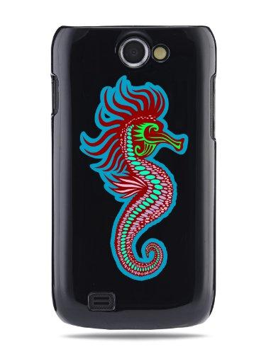 """GRÜV Premium Case - Design """"Moderne Kunst, Süßes Seepferdchen"""" - Qualitativ Hochwertiger Druck Schwarze Hülle - für Samsung Galaxy W Wonder i8150 T679 Exhibit 2 II 4G"""