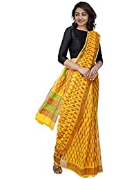 Unnati Silks Women Hand Block Printed Pure Kota Cotton Saree with blouse piece from the Weavers of Rajasthan(UNM31439+Yellow+free size)